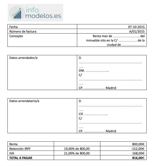 plantilla factura alquiler